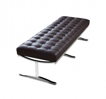 Long leather seating bench with polished steel legs. Illustration leather dark brown.
