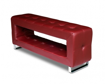 Small storage leather bench. Illustration in real leather wine red.