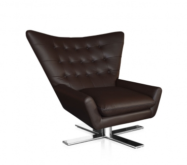 SWIVEL ARMCHAIR LEATHER BLACK, WHITE, BROWN OR PONY HIDE