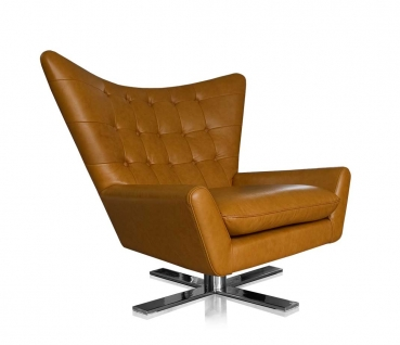 SWIVEL ARMCHAIR LEATHER BLACK OR COGNAC + STAINLESS STEEL BASE