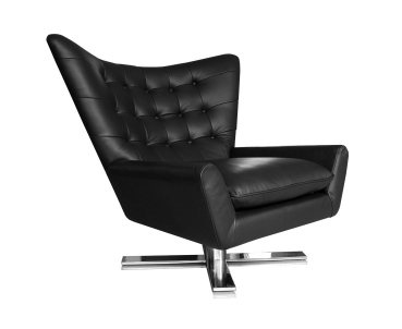 SWIVEL ARMCHAIR LEATHER BLACK + STAINLESS STEEL BASE