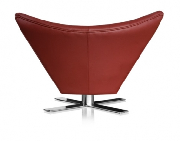 Swivel ear chair leather red