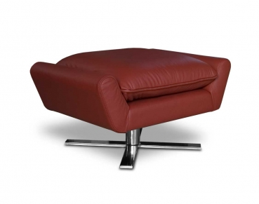 REAL LEATHER FOOTSTOOL / POUFFE + STAINLESS STEEL BASE. Illustration in leather red.