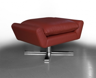 Footstool ottoman leather wine red