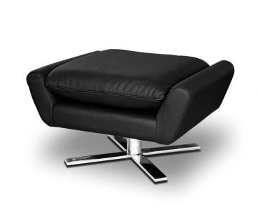 Comfortable black leather footstool with solid steel legs.