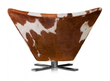 Rotable cow skin wing chair