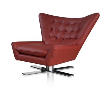 SWIVEL ARMCHAIR LEATHER BLACK OR RED + STAINLESS STEEL BASE