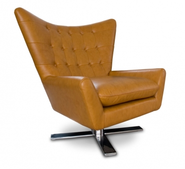 Swivel Armchair in leather tan brown. Matching footstool available.