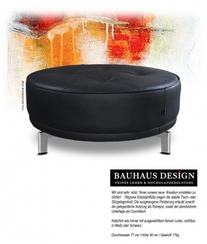 Leather coffee table, leather ottoman, leather pouffee, round leather table, leather black or white.