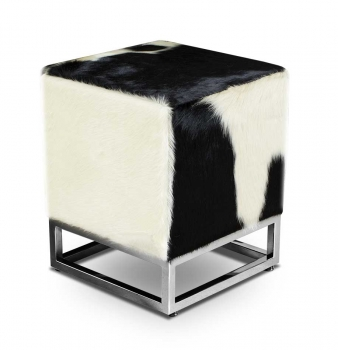 Bauhaus cube cow skin ottoman footstool real cow hide black white.