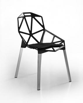 schwarzer stahlguss stuhl mit silbernen aluminium fen und einem komfortablen leder sitzkissen - Drehbare Ledersthle Wohnzimmer