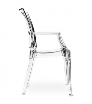 Ghost Acrylic Plexiglass armrest chair in transparent clear polycarbonate (glass clear).