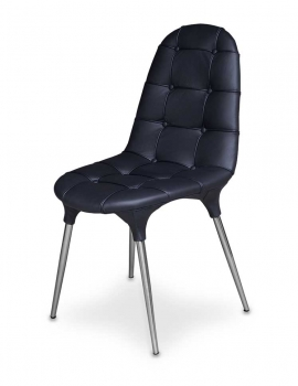 Fantastic black leather chair with a stainless steel base.
