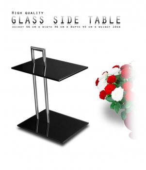 Stainless steel coffee side table for bed and breakfast with tempered black glass.