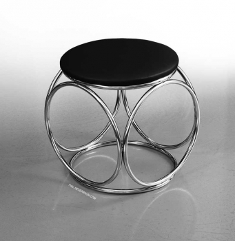 BAUHAUS OTTOMAN FOOTSTOOL LEATHER POUFFEE. ILLUSTRATION IN LEATHER BLACK.