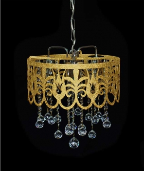 Golden basket chandelier with 3 lights and real crystals.