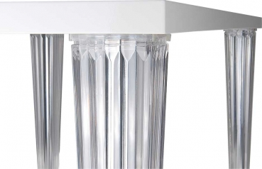 Bauhaus table with acrylic legs. Length 190 cm Lacquer white or black