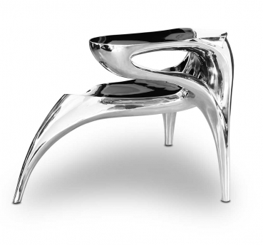 Amazing V2A steel sideback chair mirror polished. Handmade & unique!