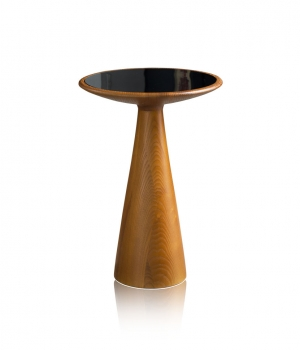 Solid American walnut side table with tempered black glass 2 height variations.