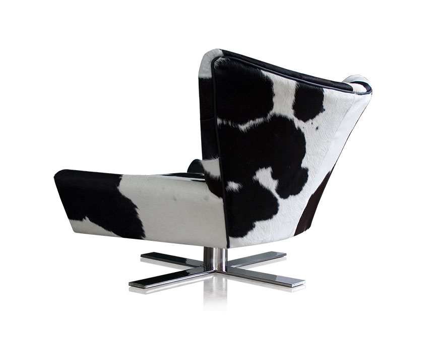 Black Cow Skin Wing Chair