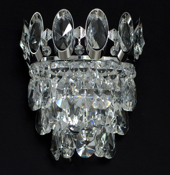 wall light with real lead crystals available in gold or silver matching chandelier available - Kronleuchter Wand