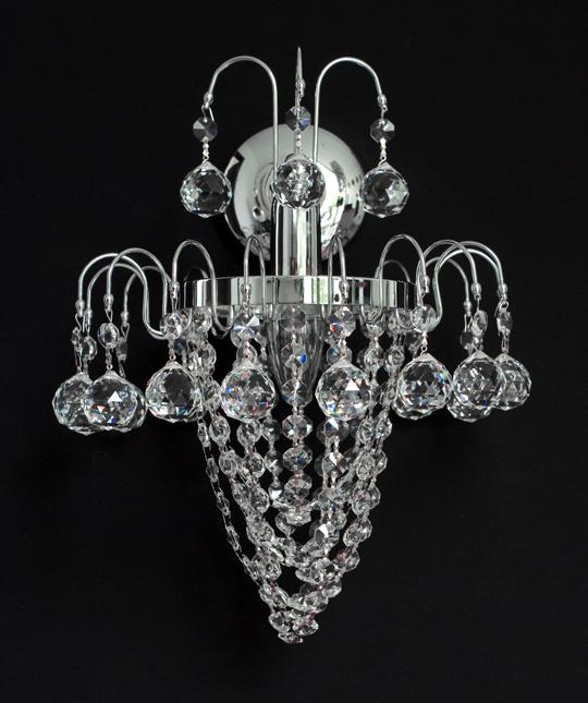 wandlampe mit wunderschnen kristall kugeln chrom oder goldfarben - Kronleuchter Wand