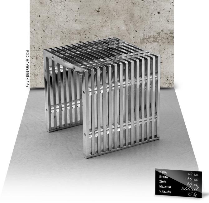 bauhaus edelstahl tisch kleiner edelstahl bauhaus hocker edelstahl beistelltisch edelstahl. Black Bedroom Furniture Sets. Home Design Ideas