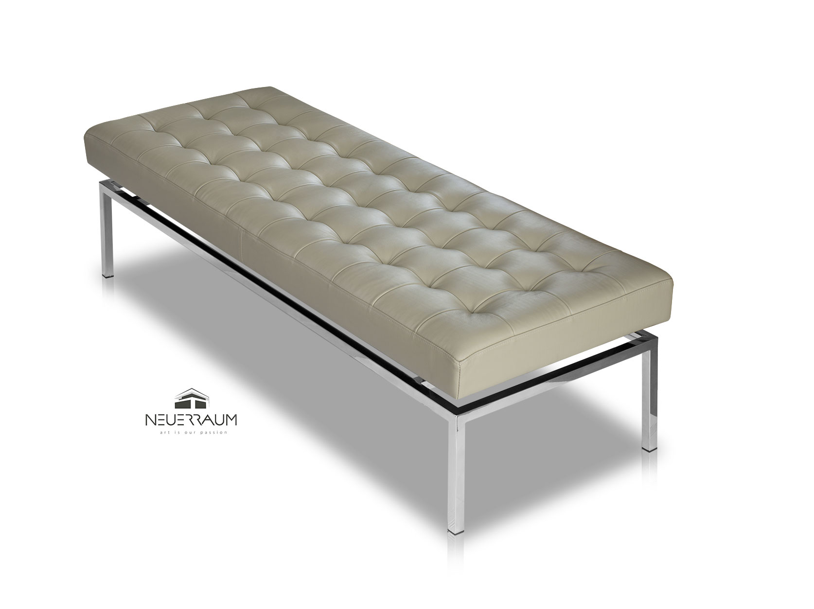 Bench Leather Bench Taupe Grey Neuerraum