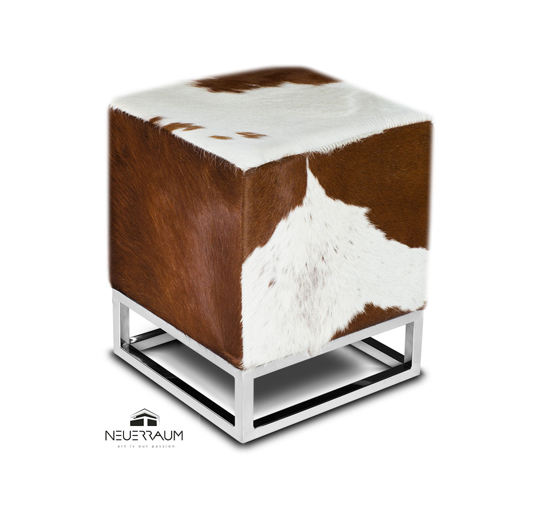 Marvelous Cube Cow Skin Fur Ottoman Footstool Brown White Neuerraum Theyellowbook Wood Chair Design Ideas Theyellowbookinfo