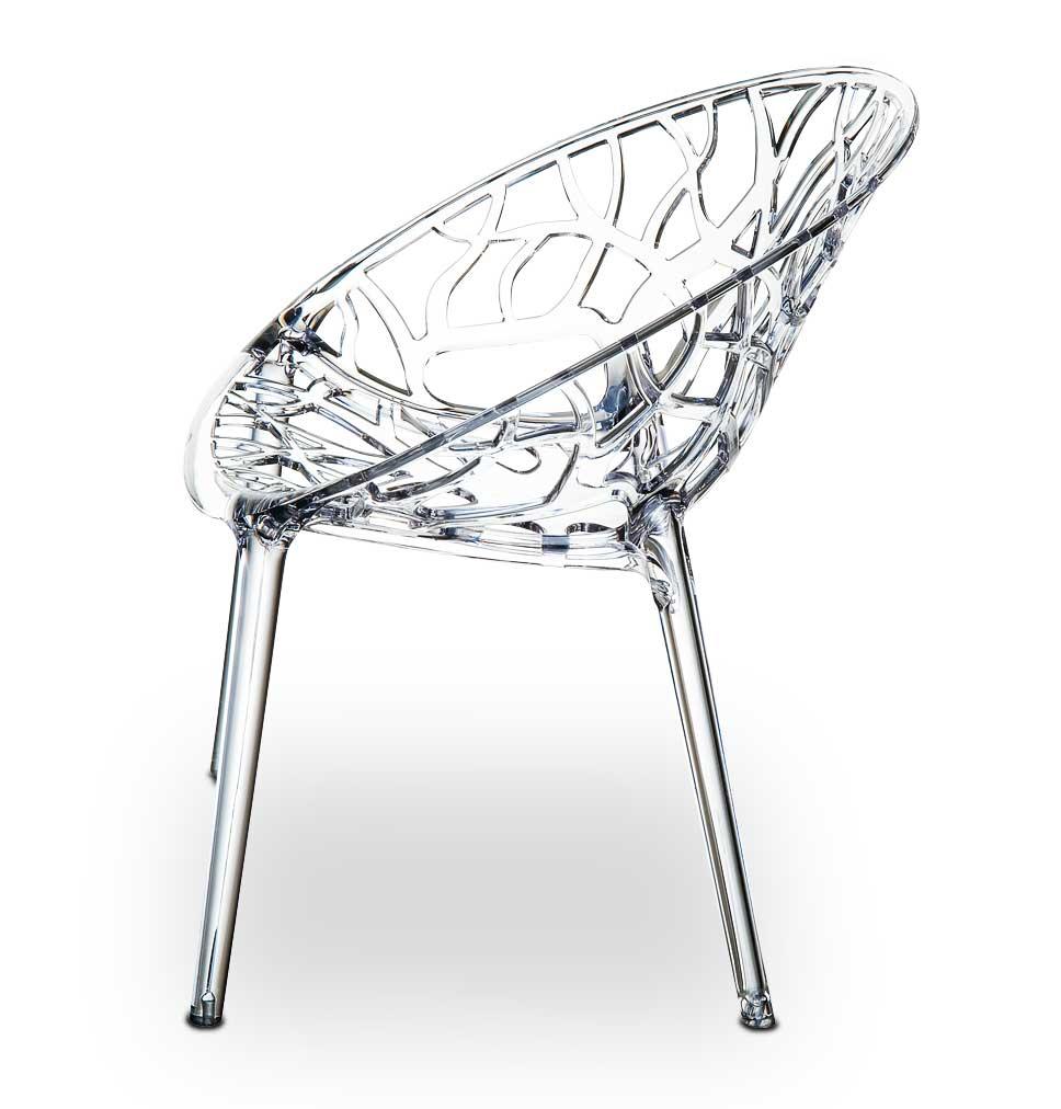 Ghost Armlehnstuhl aus transprentem Acryl Glas. Abbildung transparent Glasklar.