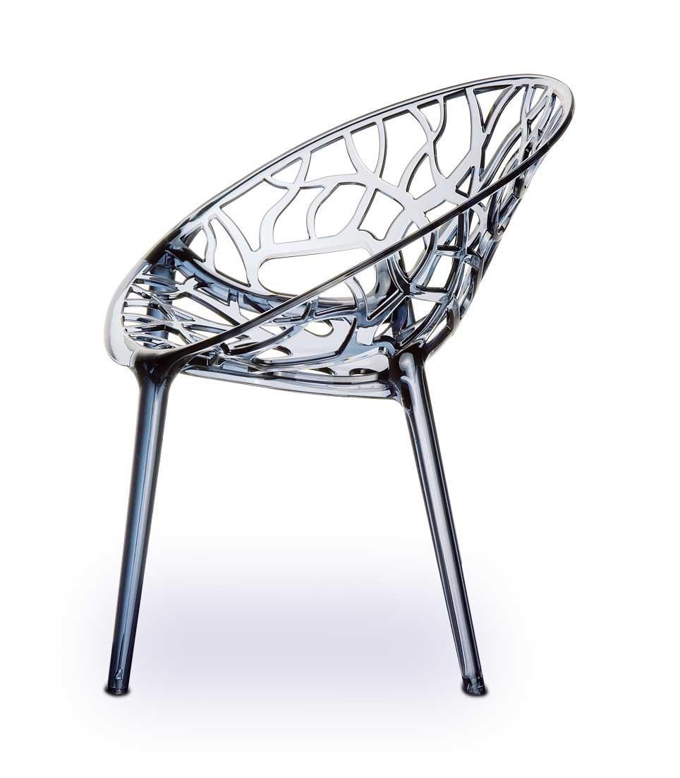 Atemberaubender Acryl Stuhl aus hochfestem Polyamid in Smokey, der Plexiglas Stuhl NATURE