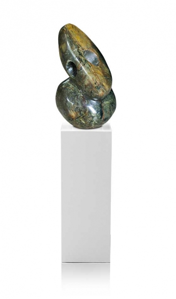 "Amazing Shona Art stone sculpture ""The watchman's eye"" handmade in yellow-brown-green fruit serpentine. 43kg!"
