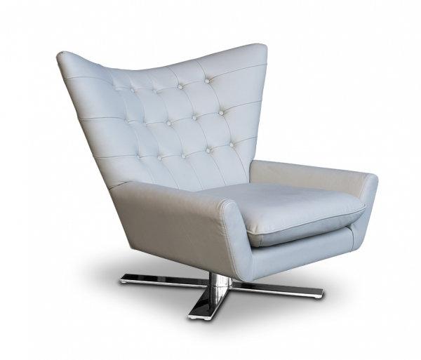 SWIVEL ARMCHAIR LEATHER GREY+ STAINLESS STEEL BASE.