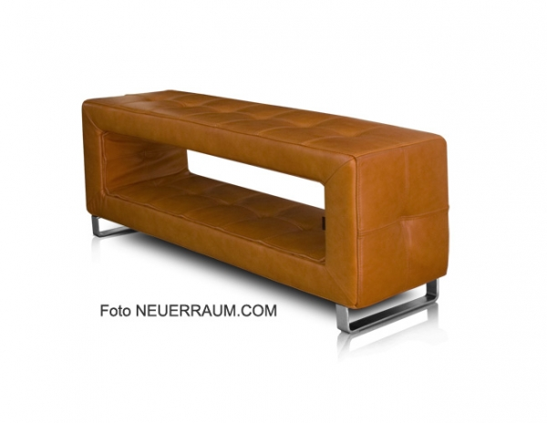 Small storage leather bench tan leather