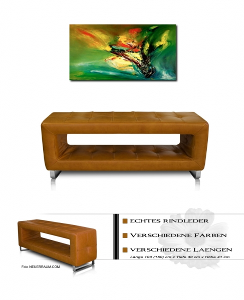 Corridor seating bench tan leather