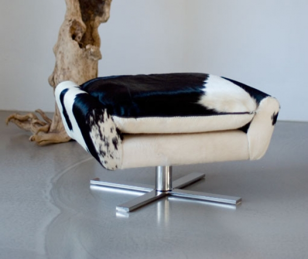 REAL PONY HIDE FOOTSTOOL / POUFFE + STAINLESS STEEL BASE