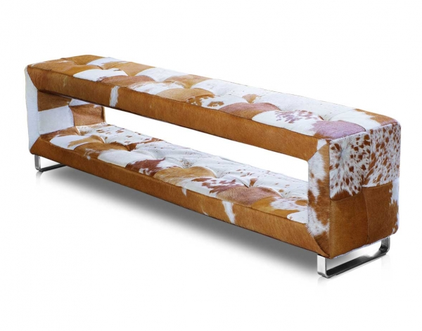 Amazing cow hide seating leather bench with storage. Real fur in brown or black available.