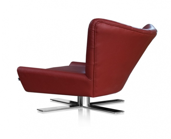 Lounge chair swivel leather bordeaux red