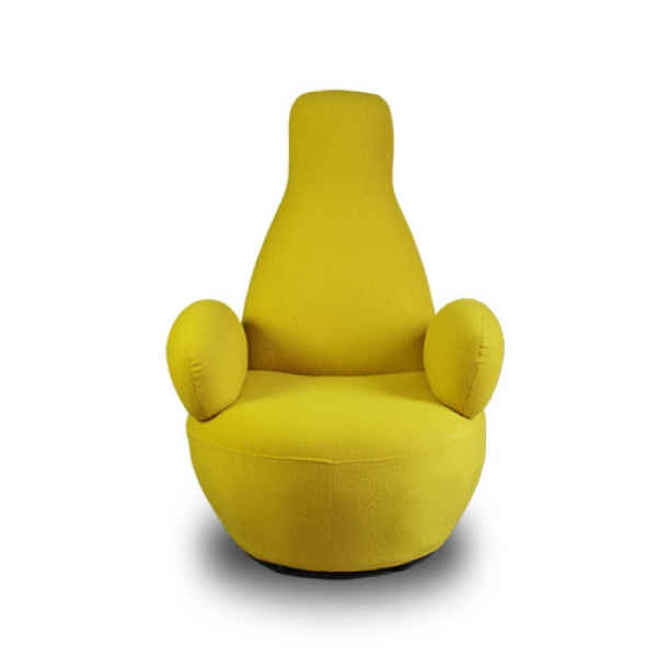 STUNNING HIGH BACK CASHMERE ARM CHAIR, LOUNGER IN YELLOW