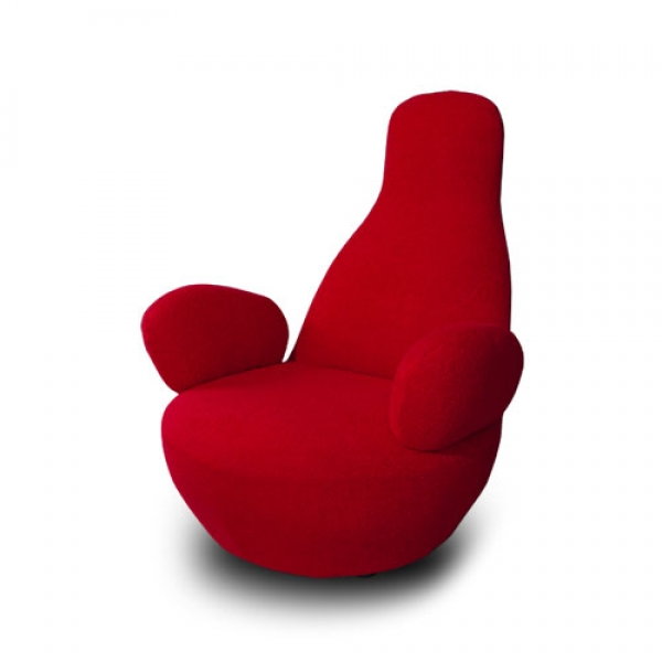 STUNNING HIGH BACK CASHMERE ARM CHAIR, LOUNGER IN RED