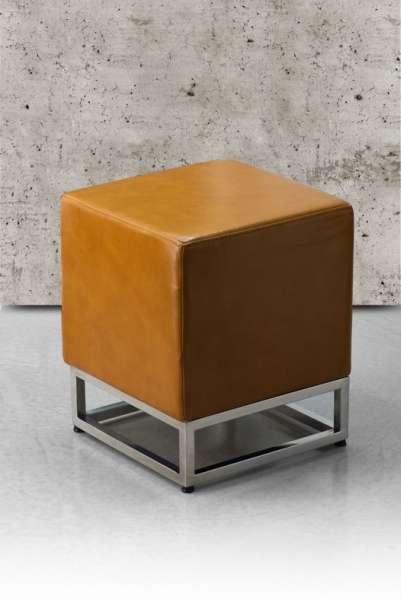 Cube leather stool tan brown