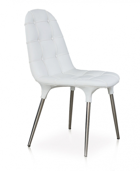 Fantastic white leather chair with a stainless steel base. Pure Design!